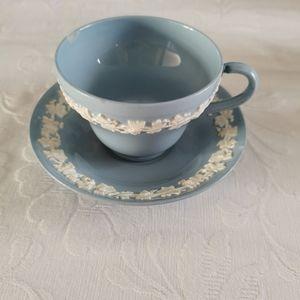 Wedgewood Blue & White Teacup & Saucer